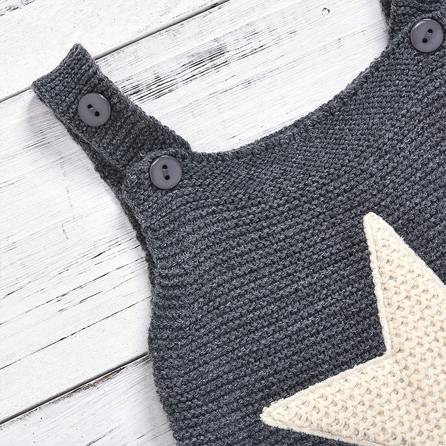 Knitted Romper For Babies - Star and Heart