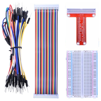 цена на Raspberry pi GPIO Breakout Expansion Kit T-Type Expansion Board + 400 Points Breadboard + 65pcs Jumper Wire+ 40pin Rainbow Cable