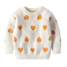 Зимняя одежда для маленьких девочек милый пуловер с длинным