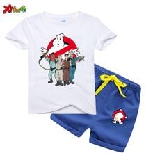 Summer Clothes Ghostbuster Cartoon Print T Shirt Kids Clothes Summer T-shirt Children Harajuku Graphic T Shirt Short Pant 2Pcs floral and graphic print buttons henley t shirt