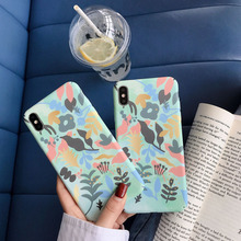 Fresh literary leaf phone case for iPhone X XS 8 76 6S PluS XR XSmax feel frosted all-inclusive hard shell drop protection cover