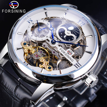 Forsining Dual Time Zone White Dial Skeleton Tourbillon Moon Phase Watch Genuine Leather Waterproof Automatic Mechanical Watch leisure automatic mechanical genuine leather waterproof watch with rome digital business for various occasions m172s brown