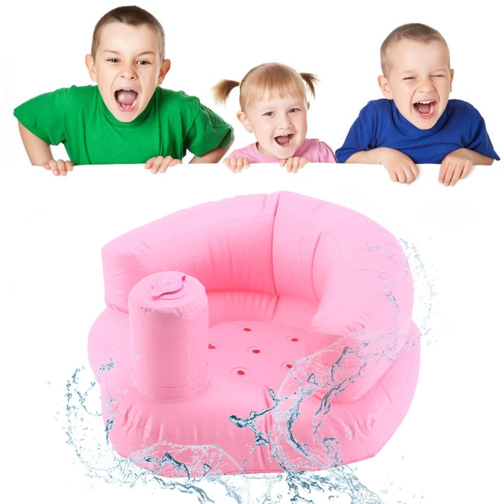 Inflatable Baby Seat Chair Sofa Dining Pushchair PVC Pink Green Bath Seats Infant Portable Play Game Mat Sofas Learn Stool Sofa