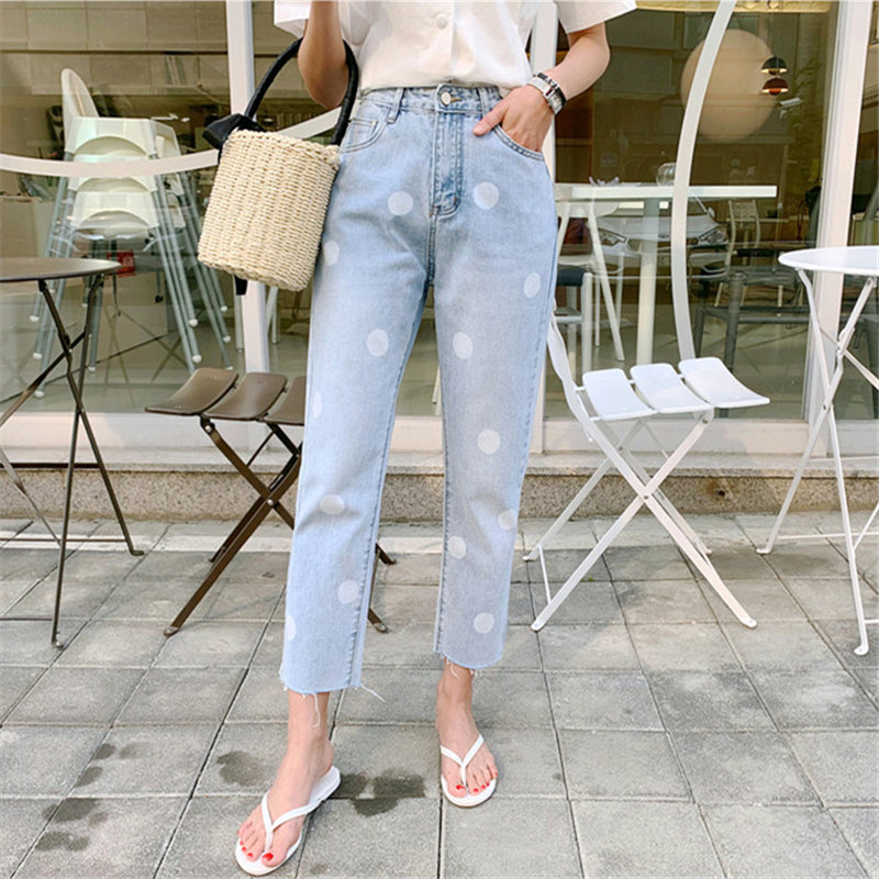 HziriP Light Blue Polka Dots Straight Students New High Waist Autumn Ankle Length All Match Denim Jeans Trousers Large Size