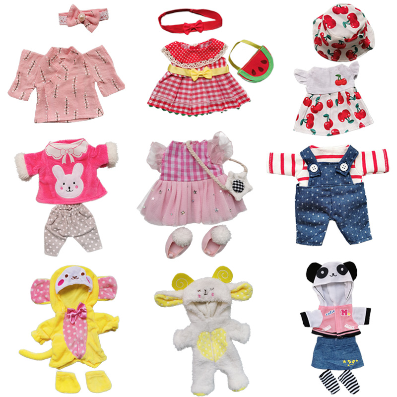 Doll Clothes Fit 25cm Baby Doll Accessories 1/6 BJD Doll New Born Doll Outfits Cute Dress Headwear Suit Girls Gifts