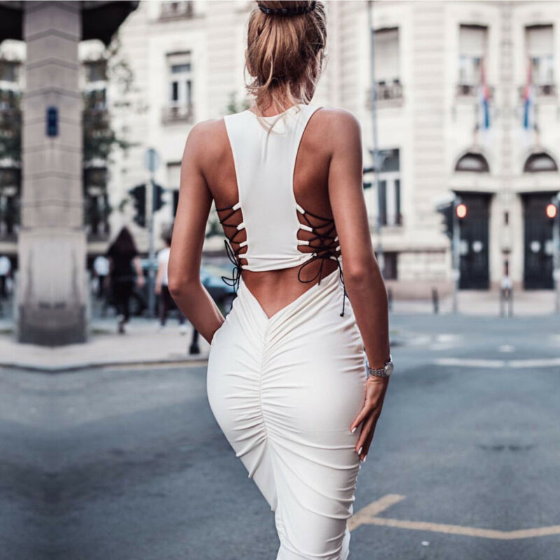 Elegant Sexy Women Bodycon Dress Hollow Out Criss-cross Bandage Dress NEW Slim Fit Vestido Party Club Package Hip Pencil Dresses