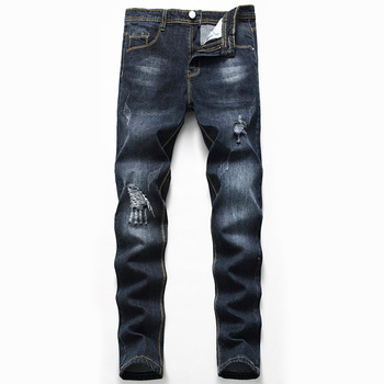 Cross-border new menswear hole black jeans qiu dong elastic male amazon hot style of cultivate morality
