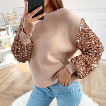 Women Shirt And Blouse Sequin Ladies Tops Tee Shirt Autumn Winter Lantern Long Sleeve O Neck Female Blouses Camisera Mujer D30 2