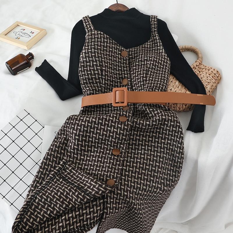Mooirue Winter 2 Piece Set Women With Sashes Vintage Streetwear Black Slim Turtleneck Pullovers+Plaid Strap High Waist Dress Set