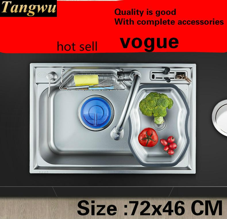 Free Shipping Household Vogue Big Kitchen Single Trough Sink Do The Dishes 304 Food-grade Stainless Steel Hot Sell 720x460 MM