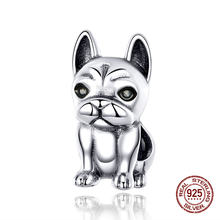 Vintage French Bulldog Beads fit Pandora Charm Original Bracelet Necklace Pendant 925 Sterling Silver Jewelry Genuine(China)