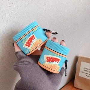 Image 2 - Para airpods pro coque bonito 3d manteiga de amendoim garrafa silicone caso fone de ouvido para apple airpods 1 2 suporte fone de ouvido capa com gancho
