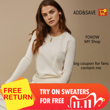 adohon 2020 woman winter 100% Cashmere sweaters  knitted Pullovers jumper Warm Female O-neck blouse blue long sleeve clothing