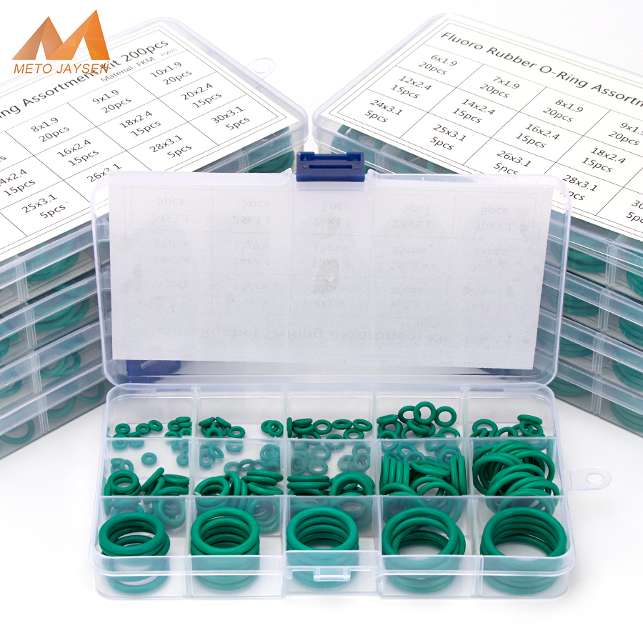 150-225PCS FKM Fluorine Rubber Sealing O-rings  OD 6mm-35mm CS 1mm 1.5mm 1.9mm 2.4mm 3.1mm Green Gasket Replacements Kits S16