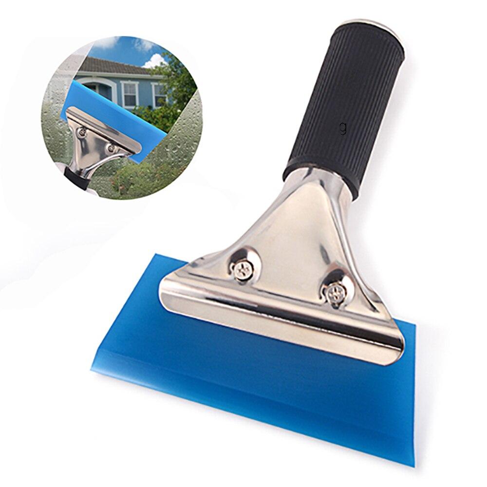 FOSHIO Handle Window Squeegee Rubber Blade Car Cleaning Tool Water Wiper Scraper Carbon Fiber Vinyl Wrap Tool Auto Tinting Tool