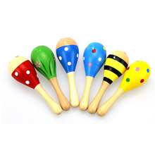6 Colors 1pc Baby Rattle Toys for Infant Baby Kids Educational Toys Colorful Sand Hammer Musical Instrument for Boys and Girls cheap CN(Origin) Other 3 years old 11 5*3 5cm 4 53*1 38inch Unisex Baby Wooden Instrument Cheering Stick Random Support