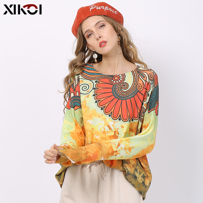 New XIKOI Winter Retro Print Sweater Women Pullovers Knitted O-Neck Jumper Women Oversized Warm Sweaters High Elastic Pull Femme