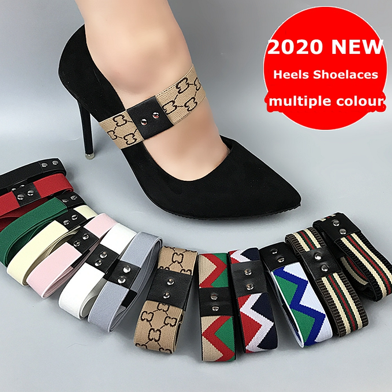 New 2020 Fashion Easy Installation Heels Laces Women Elastic Laze Shoelaces 1 Pair Anti-shedding High-heel Shoelaces
