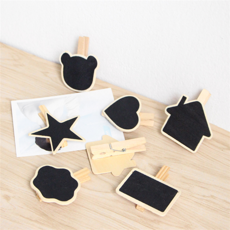1pcs/lot Kawaii Cloud Bear Head Heart  Small Wooden Blackboard Clip Paper Clip Board Message Chalkboard Wood Gift