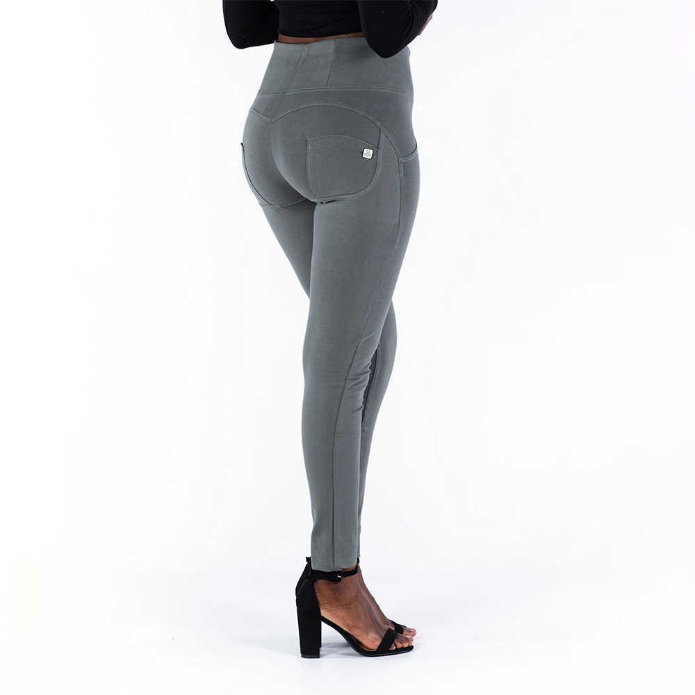 Melody quatro maneiras stretchable high rise calças magras cor oliva zíper voar calças de estiramento para mulher