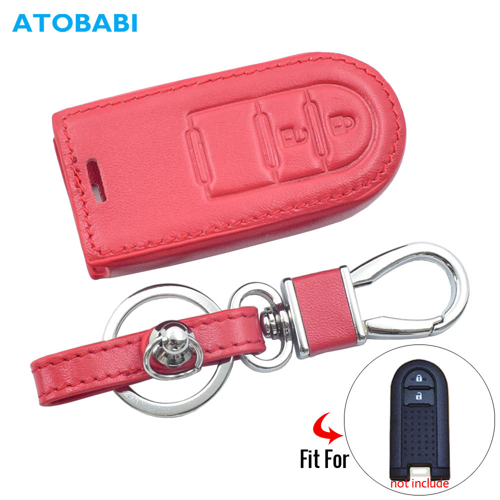 Leather Car Key Case For Daihatsu Tall M900S M910S Tanto LA600S LA610S Move Custom LA150S Pure LA700S LA710S Toyota Remote Cover