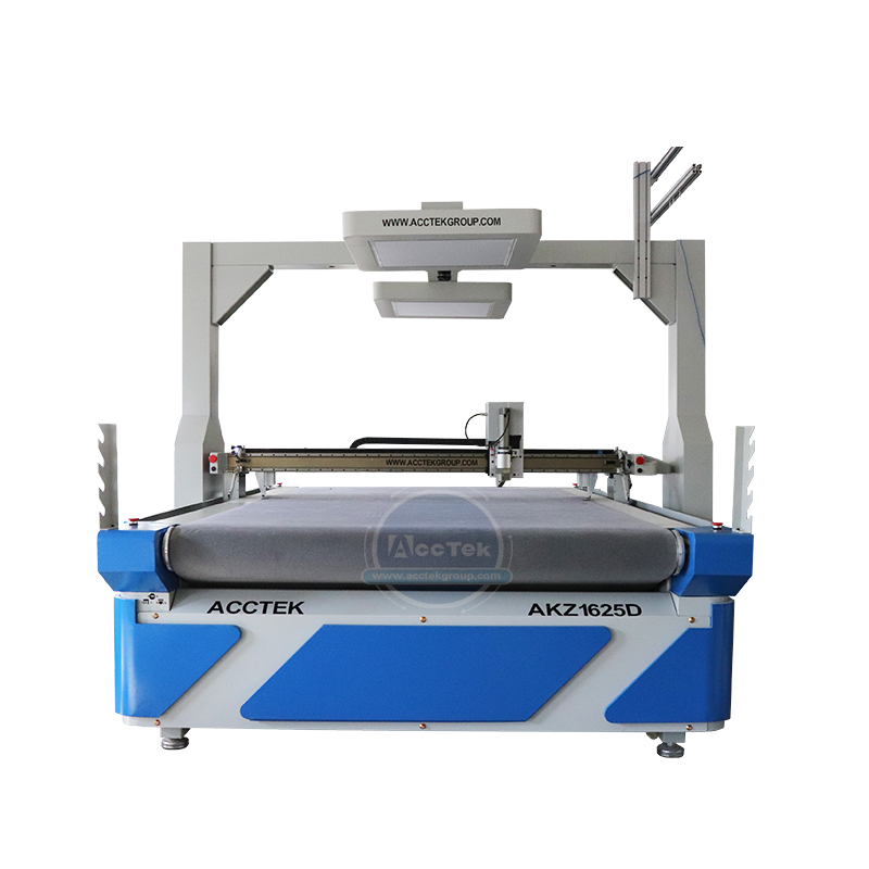 AccTek Factory Price 1625 Auto Feed Cnc Oscillating Knife Cutting Machine Cut Leather Pvc Foam With Big CCD Camera