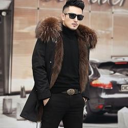 Real Fur Coat Winter Jacket 2020 men Long Parka Waterproof Big Natural Raccoon Fur Collar Hood Thick Warm Real Fox Fur Liner