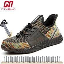 Модная мужская защитная обувь со стальным носком, Женская рабочая обувь дышащая кроссовки проколов подошва, большие размеры 35-48 MB270