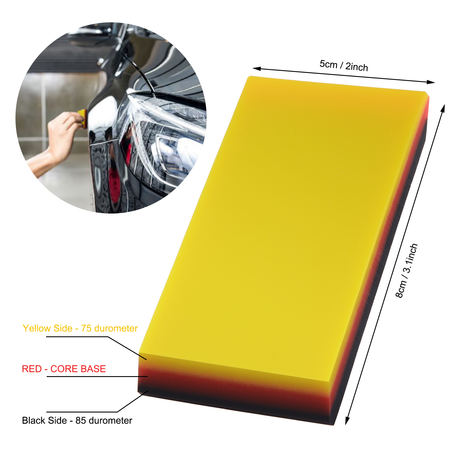 FOSHIO PPF Rubber Squeegee For Protective Paint Film Install Carbon Fiber Car Wrap Scraper Auto Cleaning Tool Window Tinting