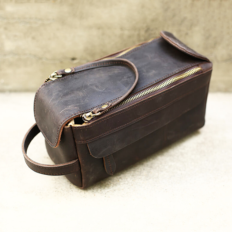 Full Grain Cow Leather Men's Toiletry Bag Crazy Horse Leather Dopp Kit Leather Wash Bag Shaving Kit