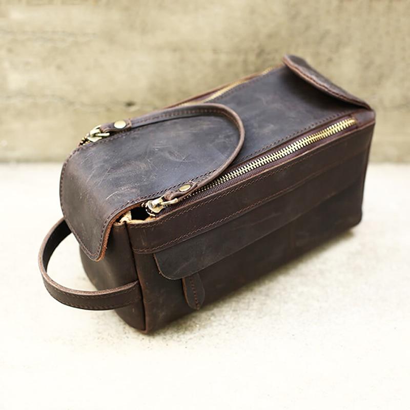 Full Grain Cow Leather Men's Toiletry Bag Crazy Horse Leather Dopp Kit Leather Wash Bag Shaving Kit