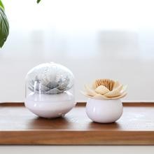 Dispenser Bud-Holder Cotton-Swab Toothpick Organizer Storage-Box Exotic-Table Lotus-Dustproof