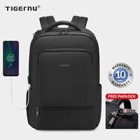 Tigernu-발수 나일론 도난 방지 22L 남성 15.6 인치 노트북 배낭 가방, USB 충전 여행 남성 Mochila 솔리드 책가방