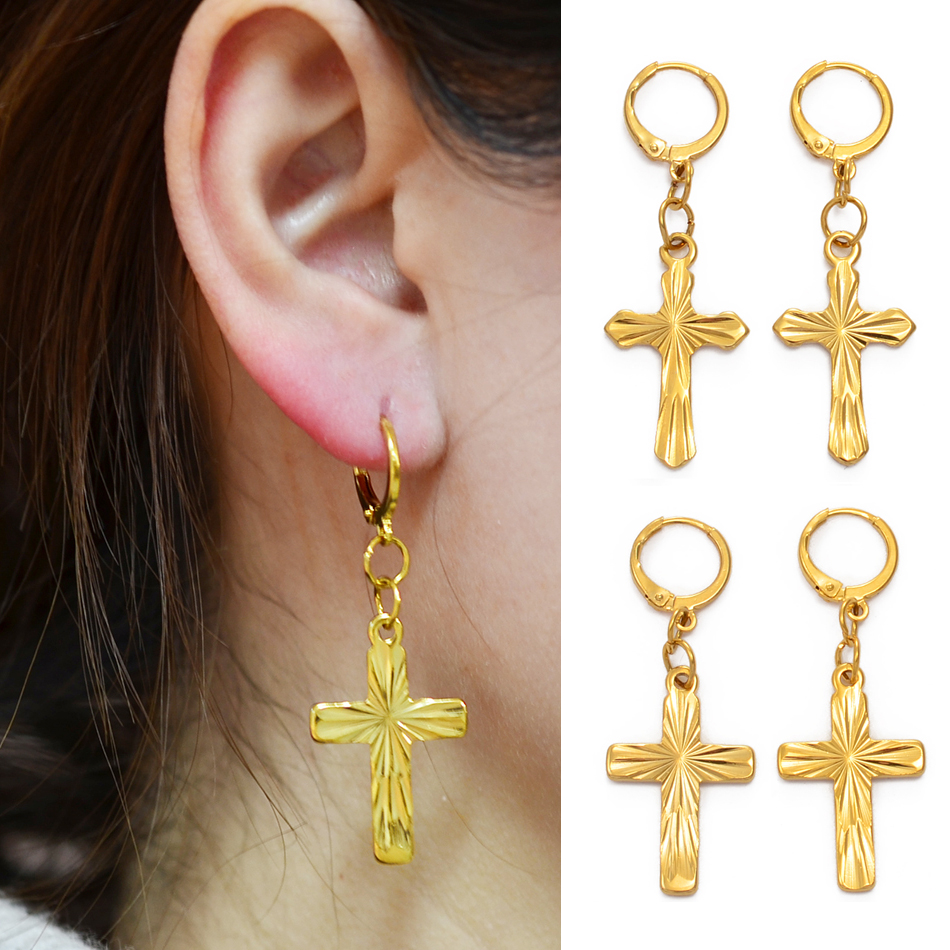 Anniyo Cross Earrings Women Girls Christian Catholic Religious Kiribati Crosses Hawaii Guam African Jewelry Crucifixion #231306