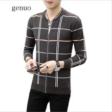 Men Sweater Cardigan Zipper Striped 2020 New Arrival Autumn And Winter Thin Slim Male Knitted Coat