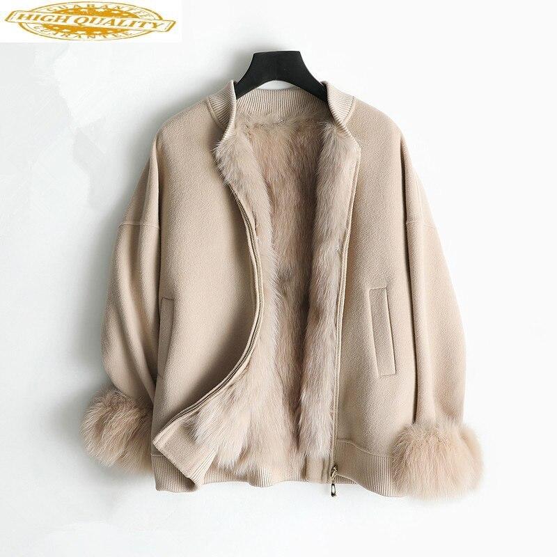 Real Fur Coat Female Natural Fox Fur Collar Wool Coat 2020 Autumn Winter Jacket Women Alpaca Woolen Coats Veste Femme My