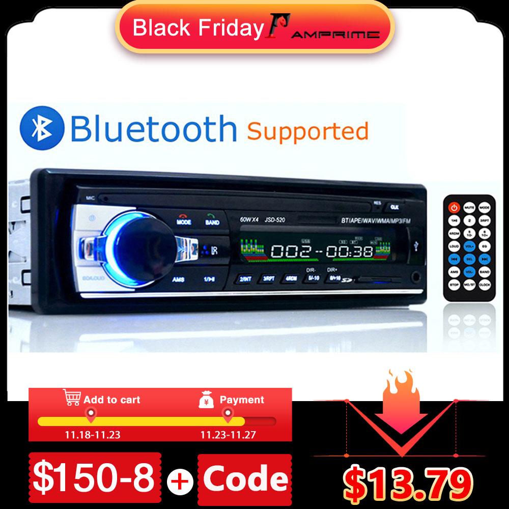 AMPrime Bluetooth Autoradio Car Stereo Radio FM Aux Input Receiver SD USB JSD 520 12V In dash 1 din Car MP3 Multimedia Player
