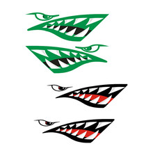 4 Pieces Self Adhesive Big Shark Teeth Mouth Decals Kayak Canoe Boat Dinghy Funny Stickers DIY Graphics Accessories(China)
