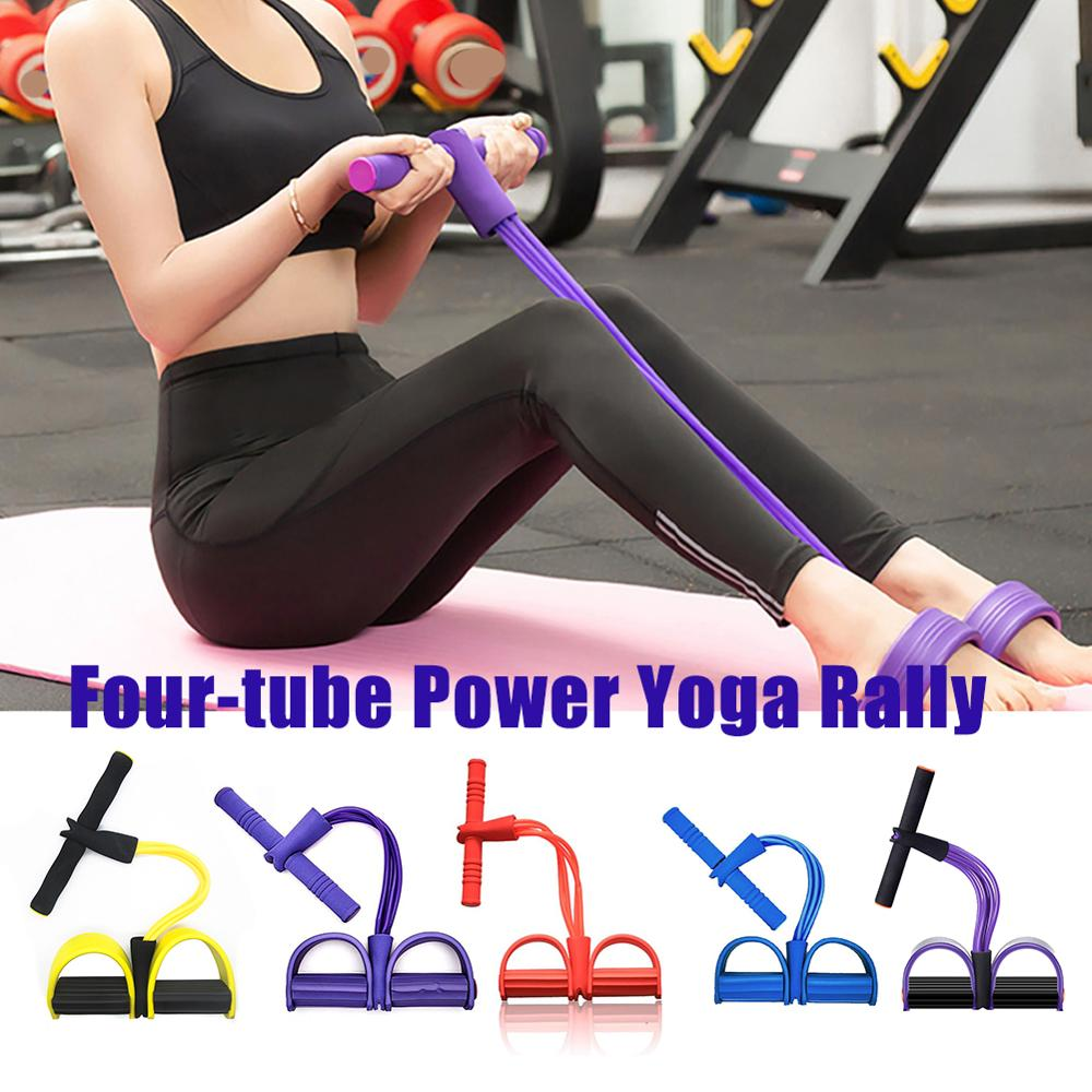 Rush Sale! Four-tube Multifunctional Pull Rope Pedal Elastic Rope Leg Puller Abdominal Crunches Footstool Pull Rope Dropshipping