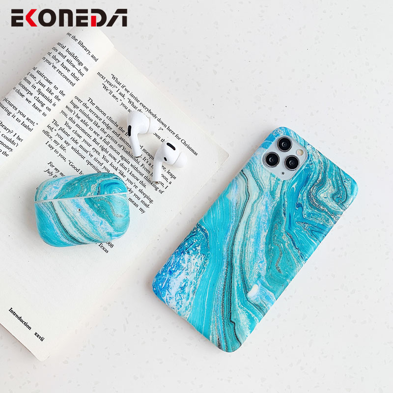 EKONEDA Luxury Blue Marble Patterned Case For Airpods Pro Silicone Soft Protective Earphone Shell Cover For Airpod Pro Case