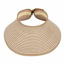 Женская Повседневная флоппи Летняя Пляжная соломенная шляпа от солнца складная шляпа с широкими полями козырек женская шляпа от солнца с милым бантом#3