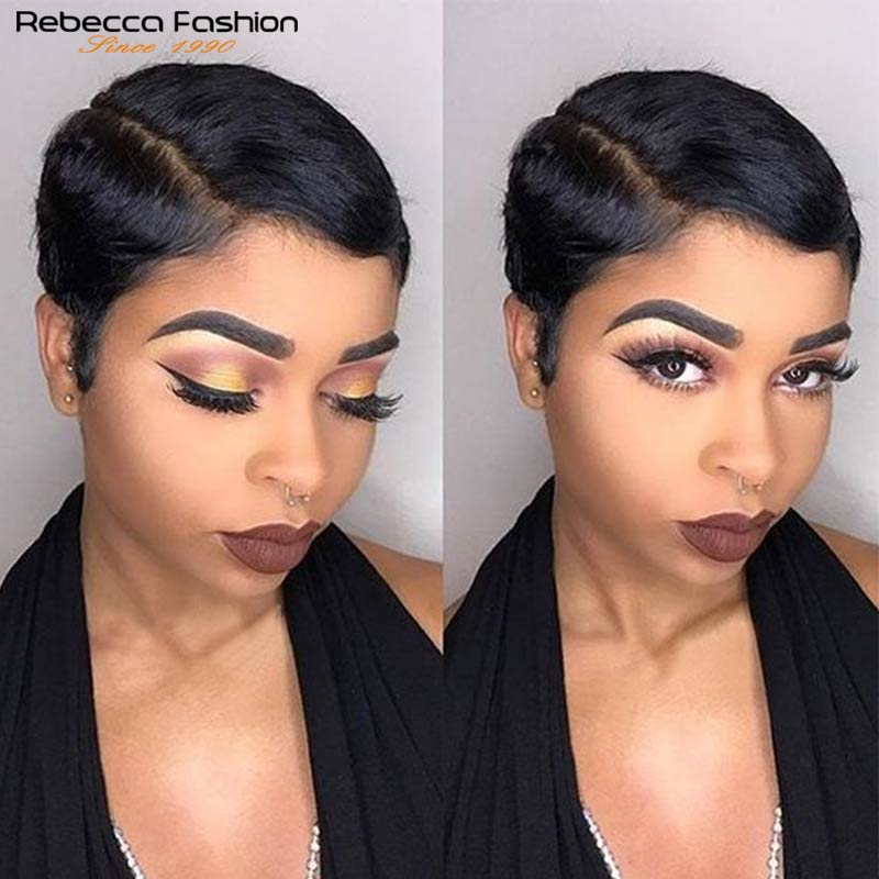 Rebecca Short Straight Pixie Cut Wigs Lace Part Human Hair Wigs Lace Front Pre Plucked Brazilian Short Blonde Pink Burgundy Wigs
