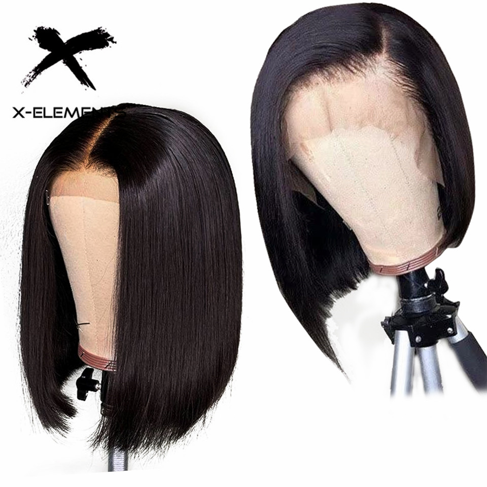 13x4 Lace Front Human Hair Wigs Brazilian Straight Bob Wigs With Baby Hair Remy 150% Short Bob Lace Front Wig X-Elements Hair