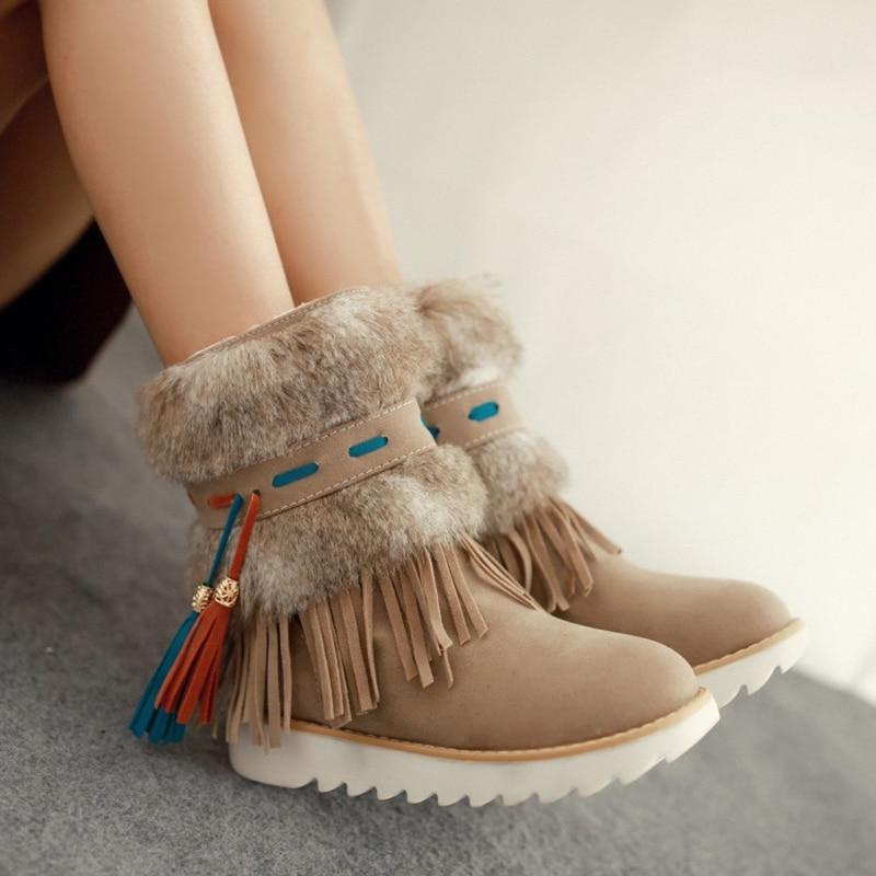 Bottes de neige plates d'hiver femmes Tube court frenlum gland bottes Chaussures en peluche femmes Chaussures Botas Mujer Botines Mujer Chaussures Femme