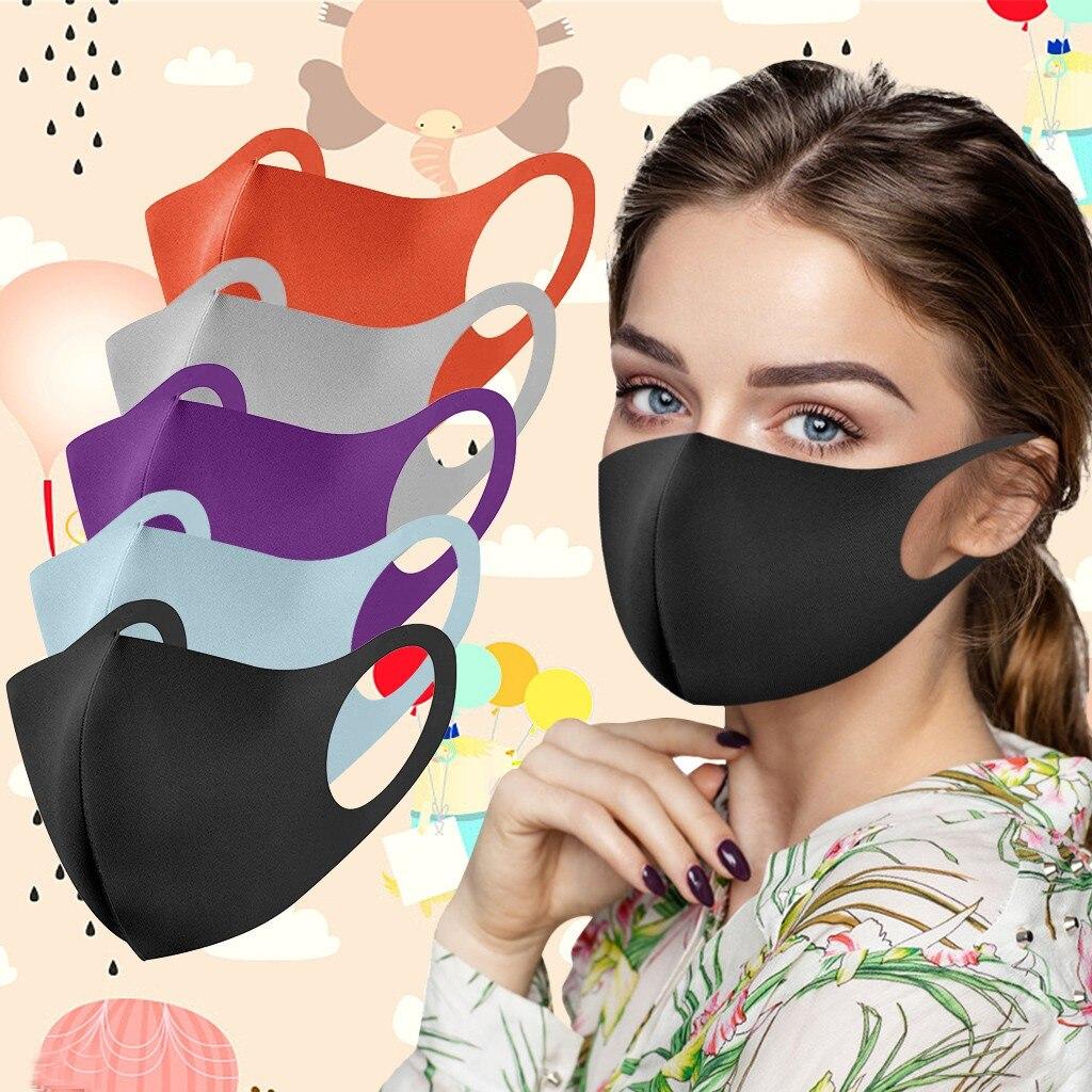 Недорогие маски для рта 5 шт., синие, зеленые, розовые Моющиеся Многоразовые маски, Ветрозащитная маска для лица, модные маски для взрослых p4