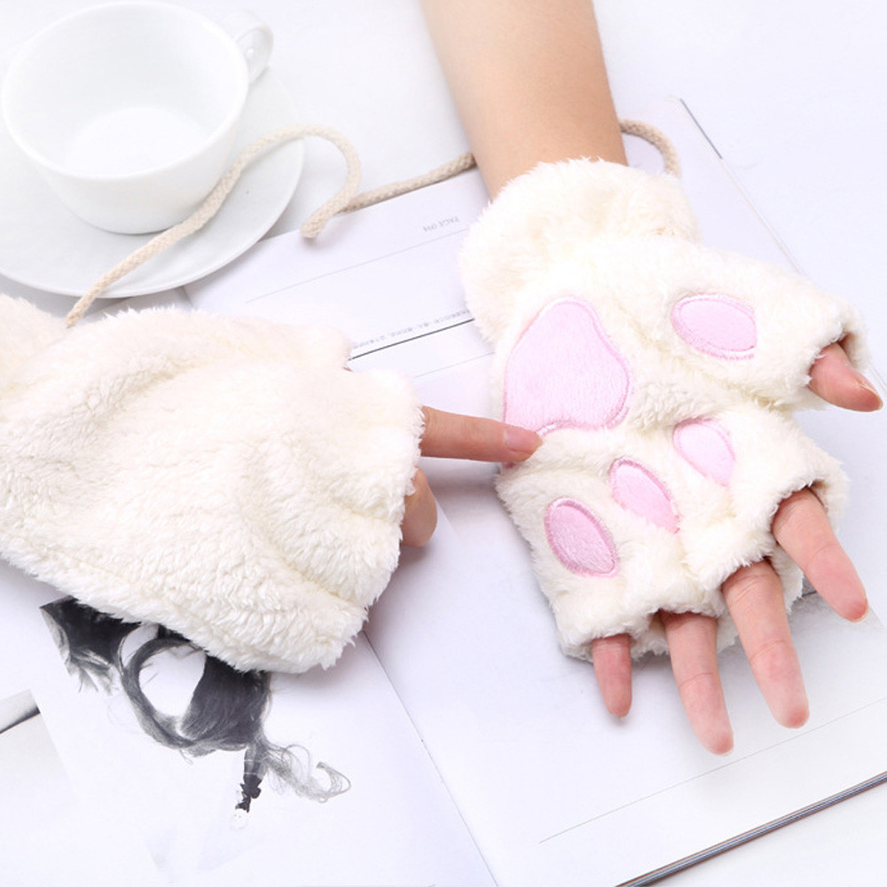 Winter Women Plus Velvet Thickening Half-Finger Flip Keep Warm Gloves Cute Cat Claw Paw Plush Mittens Soft Half Finger Gloves