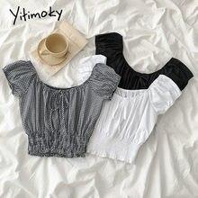 Yitimoky ekose bluz kadın gömlek beyaz siyah Tops Ruffles Slash boyun puf kollu kısa yay moda 2021 yaz kore moda