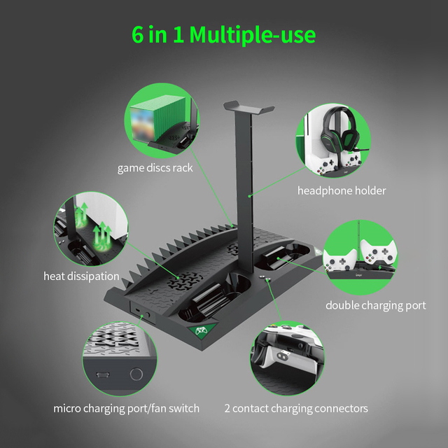 IPEGA Game Vertical Stand 6 in 1 Multifunctional Cooling Fan Headphone Holder Charging Base for XBOX ONE/XBOX ONE X/XBOX ONE S 6
