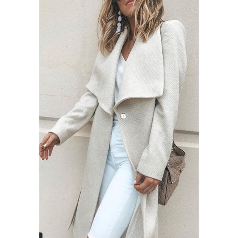 Women Winter Coat Wool Elegant Cotton Long Outwear Solid Turn-down Collar Open Stitch Slim Office Lady Windbreaker Thick Warm