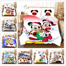 Mickey Minnie Christmas Santa Claus Bedding Set Duvet Cover Children Bed Queen King Siz Gift  Nightmare Before